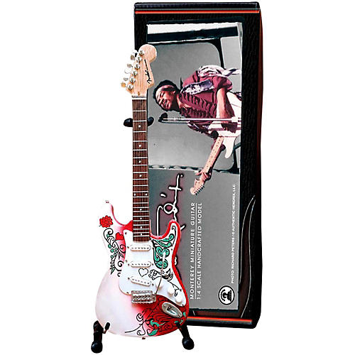 Axe Heaven Jimi Hendrix Monterey Fender Stratocaster Miniature Guitar Replica Collectible