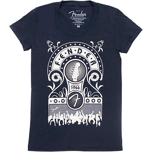 Fender Jukebox Ladies T-Shirt Navy Extra-Large