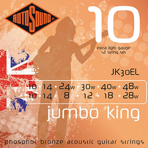 Rotosound Jumbo King 12-String Acoustic Guitar Strings