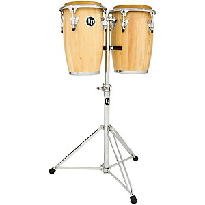 LP Junior Wood Congas with Chrome Hardware and Stand by LP