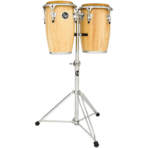 LP Junior Wood Congas with Chrome Hardware and Stand-thumbnail
