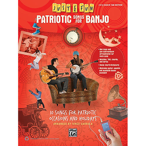 Alfred Just for Fun Patriotic Songs for Banjo Easy TAB Book