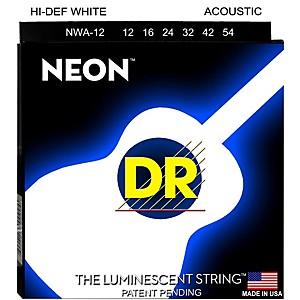 DR Strings K3 NEON Hi-Def White Acoustic Medium Guitar Strings by DR Strings