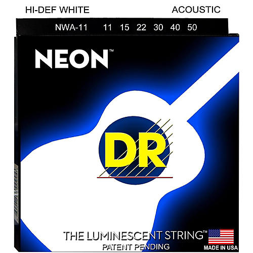 DR Strings K3 NEON Hi-Def White Acoustic Medium-Lite Guitar Strings