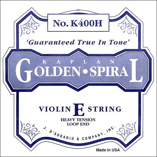D'Addario K400H Kaplan Golden Spiral 4/4 Size Violin Heavy E String with Loop End