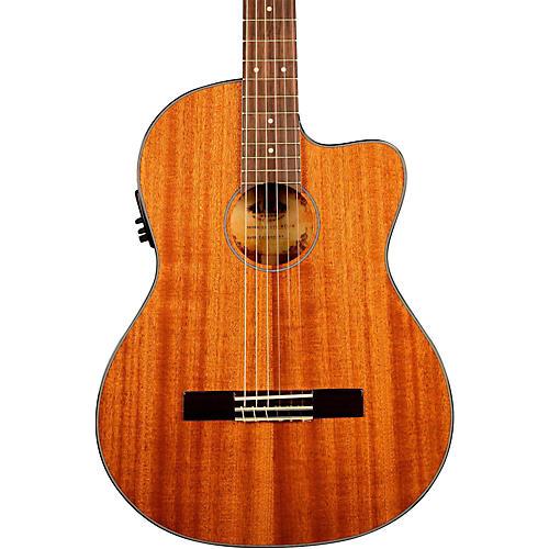 Kala KA-GTR-MTN-E Thinline Mahogany Nylon String Acoustic-Electric Guitar