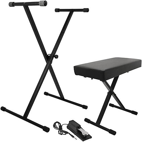 On-Stage Stands KPK6550 Keyboard Stand/Bench Pack with KSP100 Sustain Pedal-thumbnail