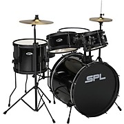 Kicker Pro - 5 Piece Drum Set with Stands, Cymbals, and Throne Black