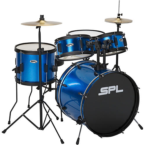 sound percussion labs kicker pro 5 piece drum set with stands cymbals and throne metallic. Black Bedroom Furniture Sets. Home Design Ideas