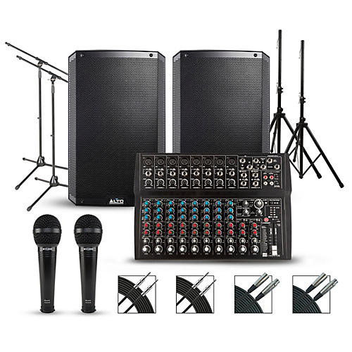 Harbinger L1402FX 14-channel Mixer with Alto Truesonic 2 Series Complete PA Package