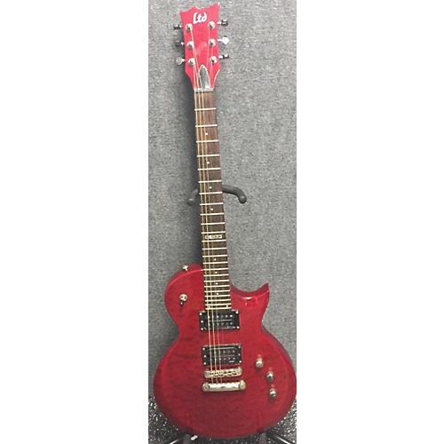 ESP LTD EC100QM Solid Body Electric Guitar Crimson Red Trans
