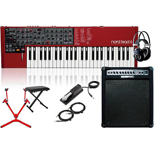 Nord Lead 4 Synthesizer with Keyboard Amplifier, Matching Stand, Headphones, Bench, and Sustain Pedal