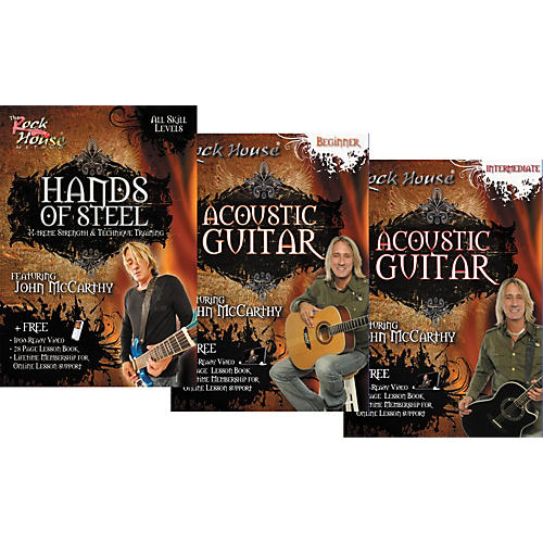 Rock House Learn Rock Acoustic Guitar Beginner, Intermediate, and Hands of Steel (3-DVD Set)