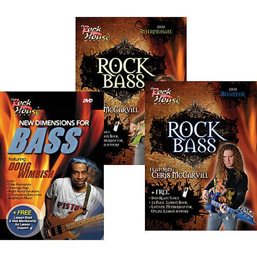 Rock House Learn Rock Bass Beginner, Intermediate, and New Dimensions for Bass (3-DVD Set)-thumbnail