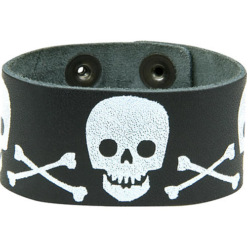 Perri's Leather Bracelet with Screened Skulls