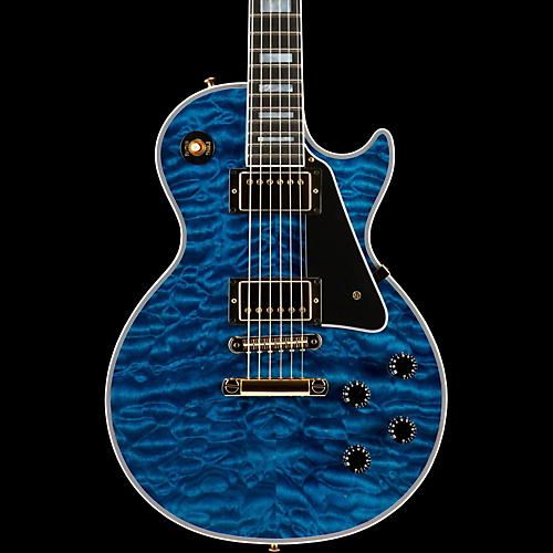 Gibson Custom Les Paul Custom 5A Quilt Top with Gold Hardware Electric Guitar Transparent Blue