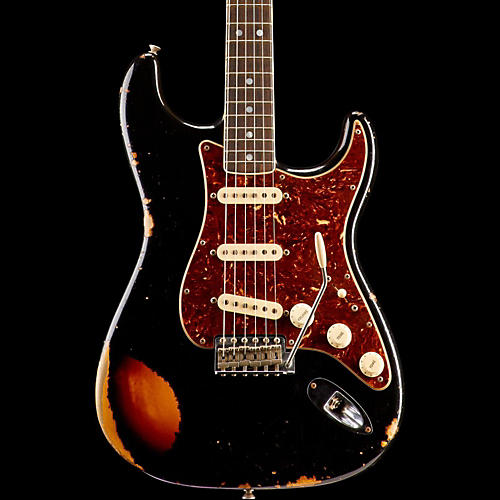 Fender Custom Shop Limited Edition '60s Heavy Relic Bound Neck Stratocaster Electric Guitar Black over 3-Color Sunburst