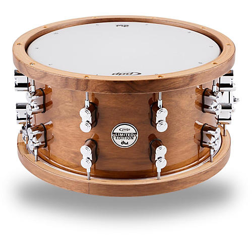 PDP Limited Edition Dark Stain Walnut and Maple Snare with Walnut Hoops and Chrome Hardware 14 x 7.5 in.
