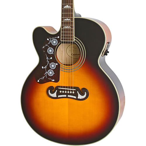 epiphone limited edition ej 200sce left handed acoustic electric guitar vintage sunburst. Black Bedroom Furniture Sets. Home Design Ideas