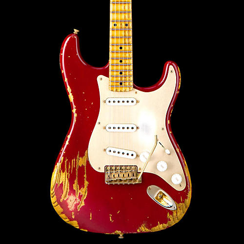 Fender Custom Shop Limited Edition Golden 1954 Heavy Relic Strat with Gold Hardware & Gold Anodized Pickguard Cimarron Red Maple Fingerboard-thumbnail
