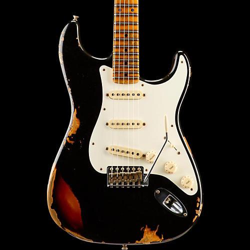 Fender Custom Shop Limited Edition Heavy Relic Mischief Maker Maple Fingerboard Electric Guitar Black over 3-Color Sunburst