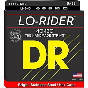 DR Strings Lo Rider LH5-40 Light Stainless Steel 5 String Bass Strings by DR Strings