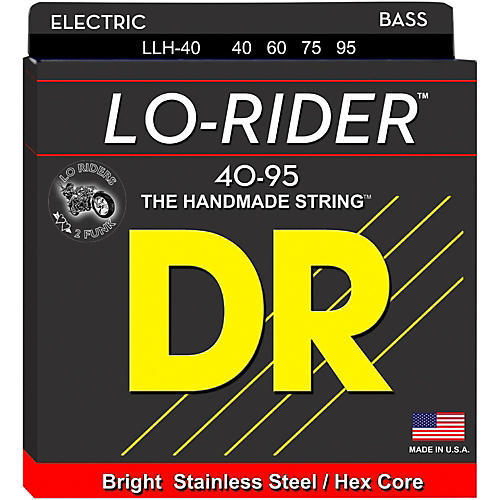DR Strings Lo Rider LLH-40 Lite-Lite Stainless Steel 4-String Bass Strings-thumbnail
