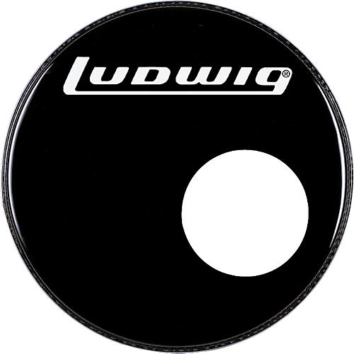 ludwig logo resonance bass drum head with port black 22 in guitar center. Black Bedroom Furniture Sets. Home Design Ideas