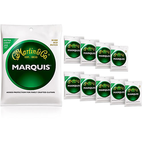 Martin M1000 Marquis 80/20 Bronze Extra Light 10-Pack Acoustic Guitar Strings