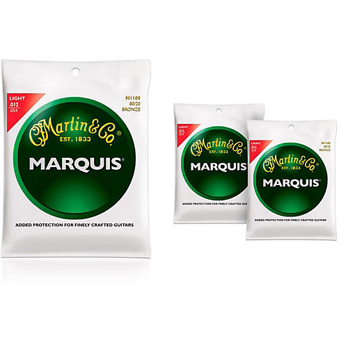 Martin M1100 Marquis 80/20 Bronze Light 3-Pack Acoustic Guitar Strings-thumbnail