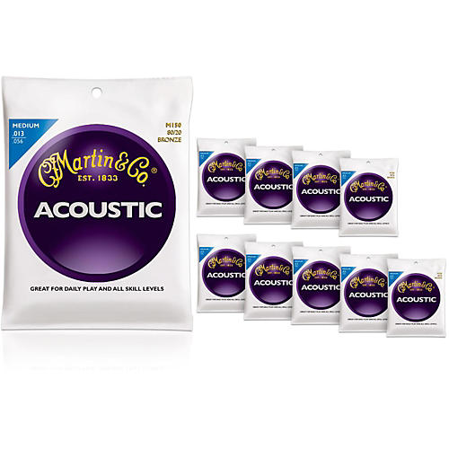 Martin M150 80/20 Bronze Medium 10-Pack Acoustic Guitar Strings-thumbnail