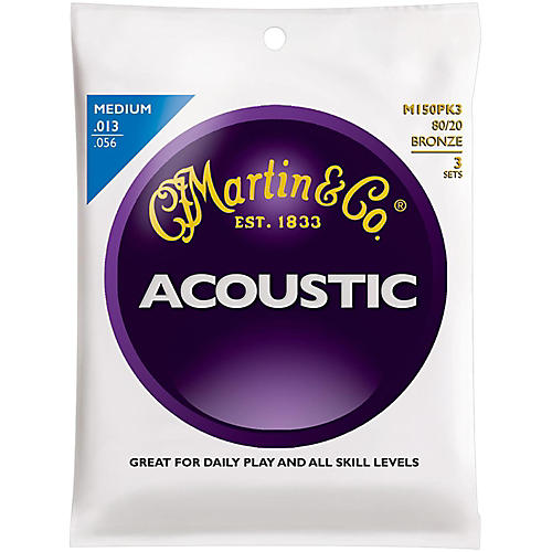 Martin M150 80/20 Bronze Medium 3-Pack Acoustic Guitar Strings-thumbnail