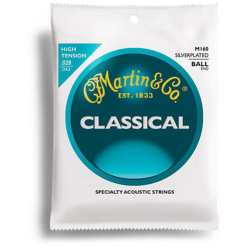 Martin M160 Silverplated Ball-End High Tension Nylon Classic Guitar Strings-thumbnail