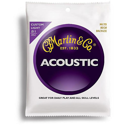 Martin M175 80/20 Bronze Custom Light Acoustic Guitar Strings-thumbnail