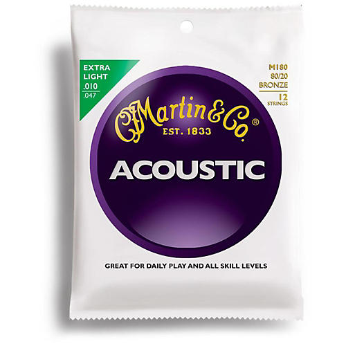 Martin M180 12-String 80/20 Bronze Extra Light Acoustic Guitar Strings-thumbnail