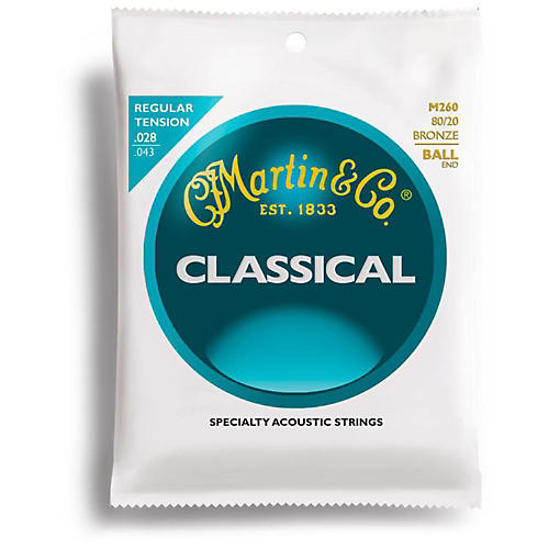 Martin M260 80/20 Bronze Ball-End Regular Tension Nylon Classic Guitar Strings-thumbnail