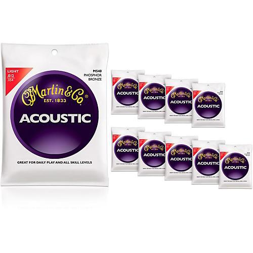 Martin M540 Phosphor Bronze Light 10-Pack Acoustic Guitar Strings