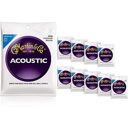 Martin M550 Phosphor Bronze Medium 10-Pack Acoustic Guitar Strings-thumbnail
