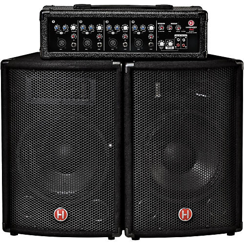 harbinger m60 60 watt 4 channel compact portable pa with 10 in speakers guitar center. Black Bedroom Furniture Sets. Home Design Ideas