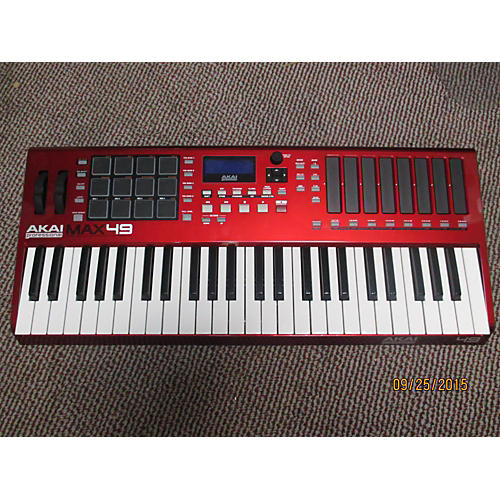 Used Akai Professional Max49 49 Key Red Midi Controller