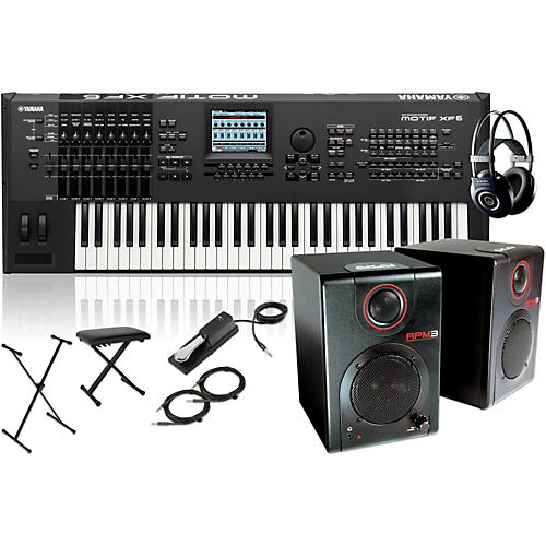 Yamaha MOTIF XF6 61-Key Music Production Synth w/ RPM3 Monitors, Stand, Headphones, Bench & Sustain Pedal