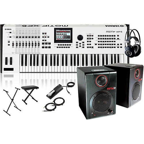 Yamaha MOTIF XF6 White 61-Key Music Production Synth w/ RPM3 Monitors, Stand, Headphones, Bench & Pedal