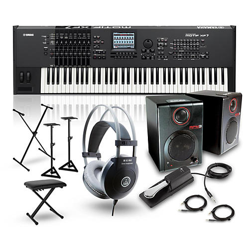 Yamaha MOTIF XF7 76-Key Music Production Synth w/ RPM3 Monitors, Stand, Headphones, Bench, Sustain Pedal-thumbnail