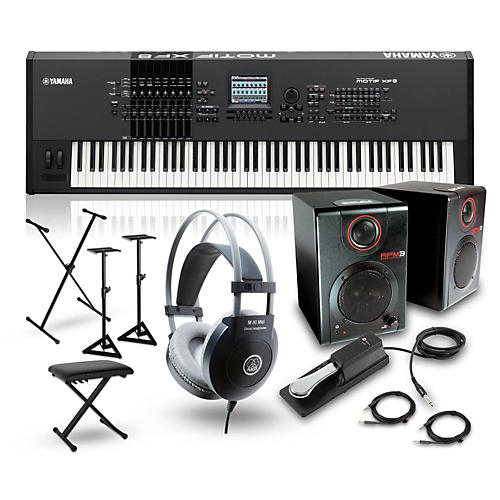 Yamaha MOTIF XF8 88-Key Music Production Synth w/ RPM3 Monitor, Stand, Headphone, Bench & Sustain Pedal