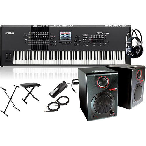 Yamaha MOTIF XF8 88-Key Music Production Synth w/ RPM3 Monitors, Stand, Headphones, Bench & Sustain Pedal
