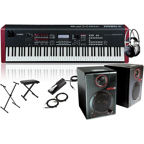 yamaha moxf8 88 key weighted synth with rpm3 monitors stand headphones bench and sustain. Black Bedroom Furniture Sets. Home Design Ideas