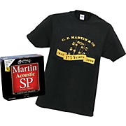 Martin MSP4100 Guitar String 3-Pack with Free 175th Anniversary T-shirt