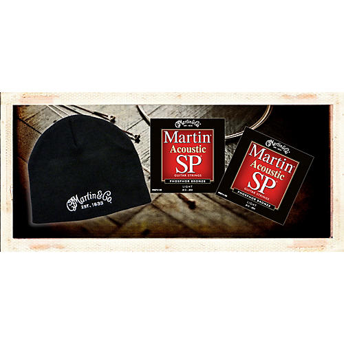 Martin MSP4100 Phosphor Bronze Light Acoustic Strings 2 Pack-with FREE Martin Logo Knit Hat-thumbnail