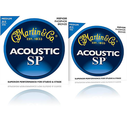 Martin MSP4200 Phosphor Bronze Medium Acoustic Guitar Strings (2 Pack)-thumbnail