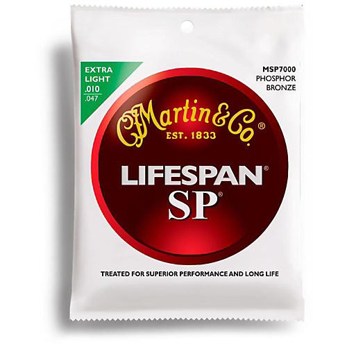 Martin MSP7000 SP Lifespan Phosphor Bronze Extra Light Acoustic Guitar Strings-thumbnail